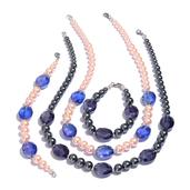 Simulated Pink and Gray Pearl, Blue Glass Silvertone Set of 2 Bracelets (7.5 in) and Necklaces (20.00 In)