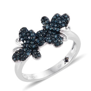 GP Certified Blue Diamond (IR) Blue Rhodium and Platinum Over Sterling Silver Dual Butterfly Ring (Size 9.0) TDiaWt 0.55 cts, TGW 0.58 cts.