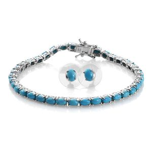 Arizona Sleeping Beauty Turquoise Platinum Over Sterling Silver Oval Stud Earrings and Bracelet (7.50 In) Total Gem Stone Weight 9.050 Carat