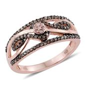 Natural Pink Diamond, Champagne Diamond 14K RG Over Sterling Silver Openwork Ring (Size 10.0) TDiaWt 0.50 cts, TGW 0.50 cts.