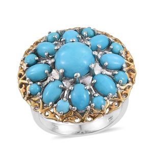 Arizona Sleeping Beauty Turquoise 14K YG and Platinum Over Sterling Silver Ring (Size 6.0) TGW 6.70 cts.