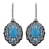 Arizona Sleeping Beauty Turquoise, Electric Blue Topaz, Mozambique Garnet Platinum Over Sterling Silver Lever Back Earrings TGW 10.180 Cts.
