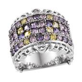 Simulated Multi Color Diamond Stainless Steel Ring (Size 5.0) TGW 5.700 cts.