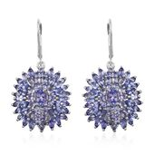 Tanzanite Platinum Over Sterling Silver Lever Back Earrings TGW 10.17 cts.