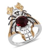 KARIS Collection - ION Plated 18K YG and Platinum Bond Brass Elongated Spider Ring (Size 7.0) Made with SWAROVSKI Red Crystal TGW 1.950 cts.
