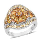 Yellow Sapphire 14K YG and Platinum Over Sterling Silver Ring (Size 7.0) TGW 2.590 cts.