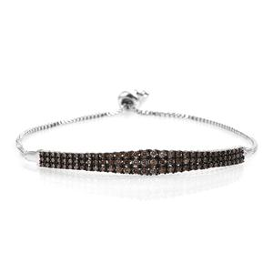GP Certified Champagne Diamond Platinum Over Sterling Silver Bracelet (Adjustable) TDiaWt 0.98 cts, TGW 1.012 cts.