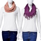 J Francis - Set of 2 Mauve and Purple 100% Acrylic Infinity Scarves (34x14 In, 30x10 In)