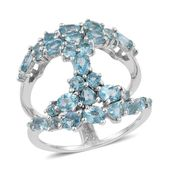 Madagascar Paraiba Apatite Platinum Over Sterling Silver Open Band Ring (Size 5.0) TGW 3.56 cts.