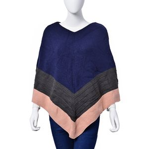 Blue Tri-Color 100% Acrylic V Pattern V-Shape Knitted Poncho (Free Size)