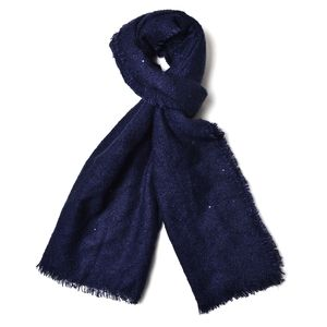Navy Blue 100% Acrylic Scarf with Sequin (75x26 in)