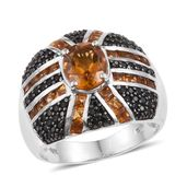 Santa Ana Madeira Citrine, Thai Black Spinel Platinum Over Sterling Silver Ring (Size 9.0) TGW 4.13 cts.