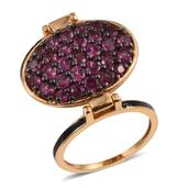 GP Orissa Rhodolite Garnet, Russian Diopside 14K YG Over Sterling Silver Reversible Dual Band Ring (Size 6.0) TGW 4.960 cts.