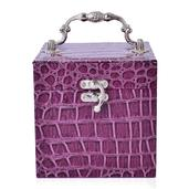 TLV 3 Tier Purple Crocodile Embossed Faux Leather Vintage Handle Cube Jewelry Box with Jewelry Protection Treated Fabric (Approx. 21 Rings)(5x5x5 in)
