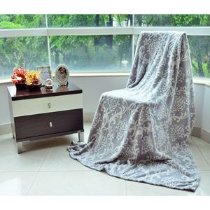 Gray and Cream Damask Pattern Microfiber Blanket (80x60 in)