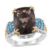 Brazilian Smoky Quartz, Malgache Neon Apatite 14K YG and Platinum Over Sterling Silver Ring (Size 8.0) TGW 13.900 cts.