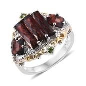 Mozambique Garnet, Russian Diopside 14K YG and Platinum Over Sterling Silver Ring (Size 9.0) TGW 6.54 cts.