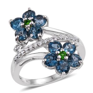 London Blue Topaz, Russian Diopside, White Zircon Platinum Over Sterling Silver Ring (Size 6.0) TGW 3.700 cts.