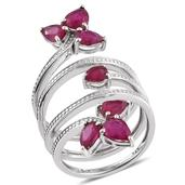 Niassa Ruby Platinum Over Sterling Silver Multi Band Open Knuckle Ring (Size 8.0) TGW 4.950 cts.