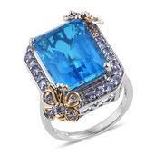 Caribbean Quartz, Tanzanite 14K YG and Platinum Over Sterling Silver Butterfly Statement Ring (Size 7.0) TGW 18.62 cts.