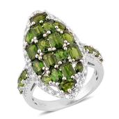 Russian Diopside, White Topaz Sterling Silver Ring (Size 7.0) TGW 5.250 cts.