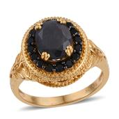 Jewel Studio by Shweta Natural Silver Sapphire, Thai Black Spinel 14K YG Over Sterling Silver Ring (Size 7.0) TGW 4.700 cts.