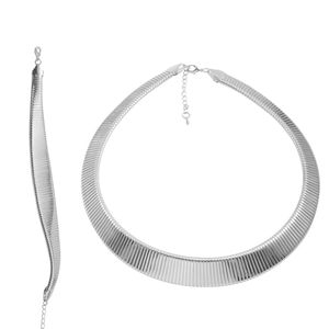TLV Silvertone Domed Omega Bracelet (9 In) and Necklace Se (18.00 In)
