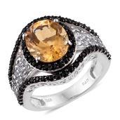 Brazilian Citrine, White Topaz, Thai Black Spinel Platinum Over Sterling Silver Ring (Size 7.0) TGW 6.950 cts.