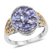 Tanzanite 14K YG and Platinum Over Sterling Silver Openwork Ring (Size 9.0) TGW 2.36 cts.