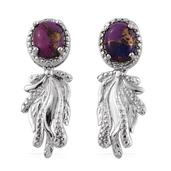 KARIS Collection - Mojave Purple Turquoise Platinum Bond Brass Dangle Earrings TGW 3.11 cts.