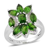 Russian Diopside, White Zircon Sterling Silver Ring (Size 9.0) TGW 3.500 cts.