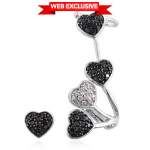 Certified Diamond, Black Diamond (IR) Black Rhodium & Platinum Over Sterling Silver Stud and Latch Ear Cuff Earrings TDiaWt 0.73 cts, TGW 0.75 cts.