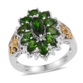 Russian Diopside 14K YG and Platinum Over Sterling Silver Openwork Ring (Size 9.0) TGW 3.500 cts.