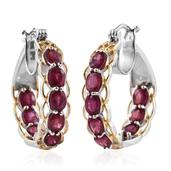 Niassa Ruby 14K YG and Platinum Over Sterling Silver Inside Out Hoop Earrings TGW 6.59 cts.