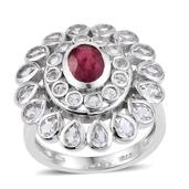 Niassa Ruby, White Topaz Platinum Over Sterling Silver Statement Ring (Size 7.0) TGW 5.800 cts.
