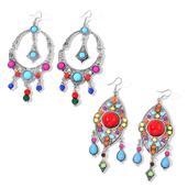 Set of 2 Multi Color Chroma Silvertone Chandelier Earrings