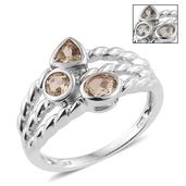 Turkizite Platinum Over Sterling Silver Openwork Trilogy Ring (Size 5.0) TGW 1.05 cts.