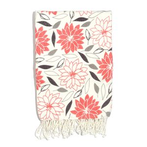 Buyer's Pick White and Coral Floral Print 100% Cotton Brushed Throw with Fringes