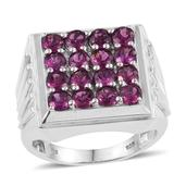 Purple Garnet Platinum Over Sterling Silver Men's Ring (Size 12.0) TGW 5.200 cts.