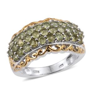 Ambanja Demantoid Garnet 14K YG and Platinum Over Sterling Silver Ring (Size 7.0) TGW 2.820 cts.