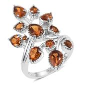 Santa Ana Madeira Citrine Platinum Over Sterling Silver Elongated Bypass Ring (Size 6.0) TGW 3.32 cts.