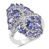 Tanzanite, White Topaz Platinum Over Sterling Silver Elongated Ring (Size 9.0) TGW 4.54 cts.