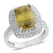 14K WG Madagascar Sphene, Diamond Ring (Size 7.0) TDiaWt 0.71 cts, TGW 5.710 cts.