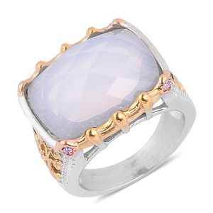 Opalite, Purple Austrian Crystal ION Plated YRG and Stainless Steel Openwork Ring (Size 8.0) TGW 3.010 cts.