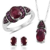 Niassa Ruby, Orissa Rhodolite Garnet Platinum Over Sterling Silver Earrings, Ring (Size 8) and Pendant With Chain (20 in) TGW 6.540 cts.