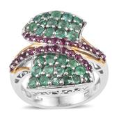Kagem Zambian Emerald, Orissa Rhodolite Garnet 14K YG and Platinum Over Sterling Silver Bypass Ring (Size 9.0) TGW 2.688 cts.