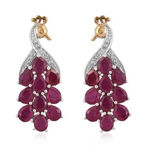 Niassa Ruby, White Topaz 14K YG and Platinum Over Sterling Silver Peacock Drop Earrings TGW 9.50 cts.
