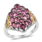 Pink Tourmaline 14K YG and Platinum Over Sterling Silver Ring (Size 7.0) TGW 3.800 cts.