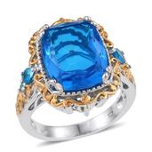Caribbean Quartz, Malgache Neon Apatite 14K YG and Platinum Over Sterling Silver Ring (Size 9.0) TGW 11.300 cts.