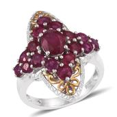 Niassa Ruby 14K YG and Platinum Over Sterling Silver Ring (Size 7.0) TGW 5.80 cts.